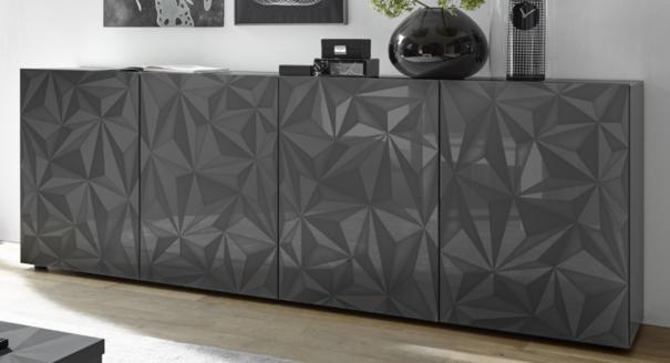 Brescia Four Door Long Sideboard - Gloss Anthracite with Grey Stencil