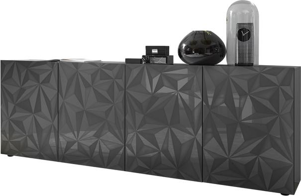 Brescia Four Door Long Sideboard - Gloss Anthracite with Grey Stencil image 3