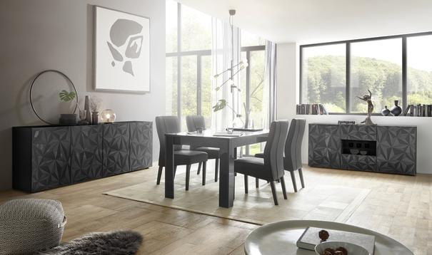 Brescia Four Door Long Sideboard - Gloss Anthracite with Grey Stencil image 5