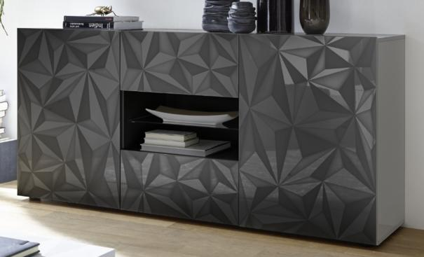 Brescia Two Door/Two Drawer Sideboard - Gloss Anthracite with Grey Stencil