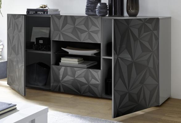 Brescia Two Door/Two Drawer Sideboard - Gloss Anthracite with Grey Stencil image 2