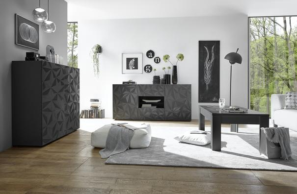 Brescia Two Door/Two Drawer Sideboard - Gloss Anthracite with Grey Stencil image 4