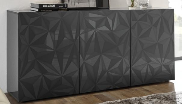 Brescia Three Door Sideboard - Gloss Anthracite with Grey Stencil