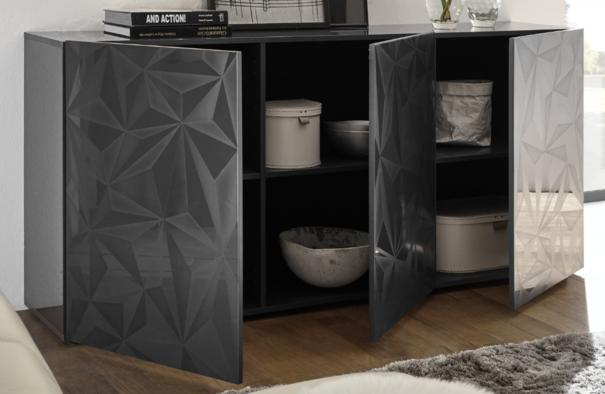 Brescia Three Door Sideboard - Gloss Anthracite with Grey Stencil image 2