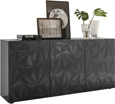 Brescia Three Door Sideboard - Gloss Anthracite with Grey Stencil image 3