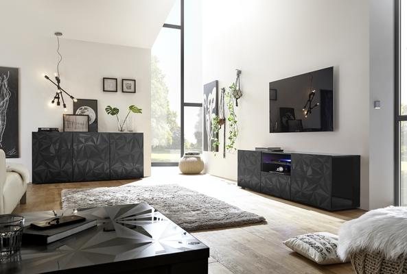 Brescia Three Door Sideboard - Gloss Anthracite with Grey Stencil image 4