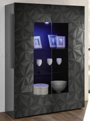 Brescia Display Vitrine with LED Spotlight - Gloss Anthracite with Grey Stencil