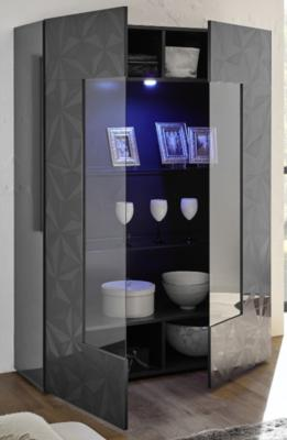 Brescia Display Vitrine with LED Spotlight - Gloss Anthracite with Grey Stencil image 2