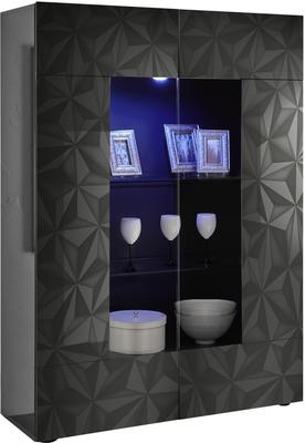 Brescia Display Vitrine with LED Spotlight - Gloss Anthracite with Grey Stencil image 3