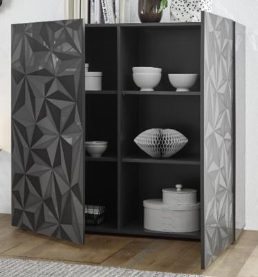 Brescia High Sideboard - Gloss Anthracite with Grey Stencil Print image 2