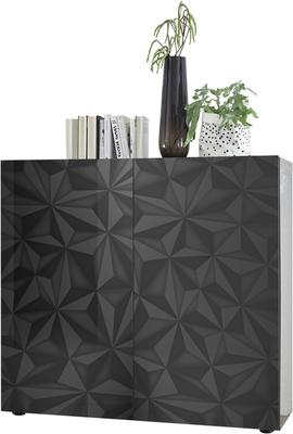 Brescia High Sideboard - Gloss Anthracite with Grey Stencil Print image 3