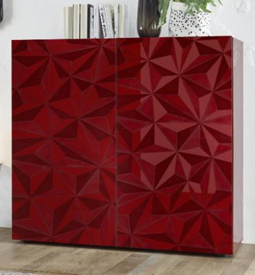 Brescia High Sideboard - Gloss Red Finish with Grey Stencil Print