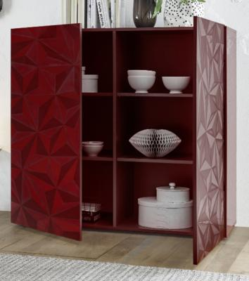 Brescia High Sideboard - Gloss Red Finish with Grey Stencil Print image 2