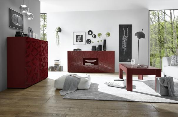 Brescia High Sideboard - Gloss Red Finish with Grey Stencil Print image 3