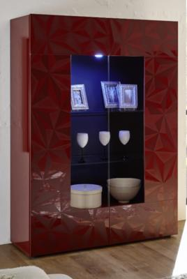 Brescia Display Unit with LED Spotlight - Gloss Red with Grey Stencil