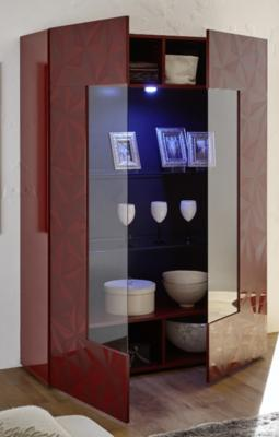 Brescia Display Unit with LED Spotlight - Gloss Red with Grey Stencil image 2