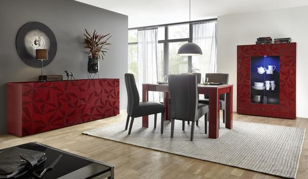 Brescia Display Unit with LED Spotlight - Gloss Red with Grey Stencil image 4