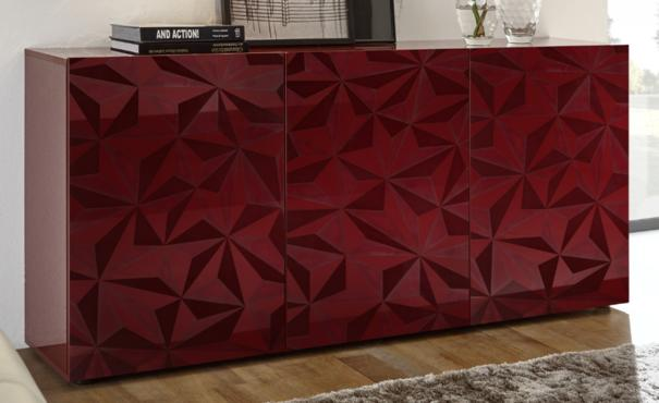 Brescia Three Door Sideboard - Gloss Red with Grey Stencil Print