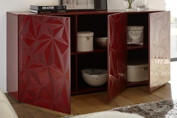Brescia Three Door Sideboard - Gloss Red with Grey Stencil Print image 2