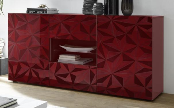 Brescia Two Door/Two Drawer Sideboard - Gloss Red with Grey Stencil