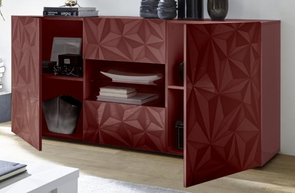 Brescia Two Door/Two Drawer Sideboard - Gloss Red with Grey Stencil image 2