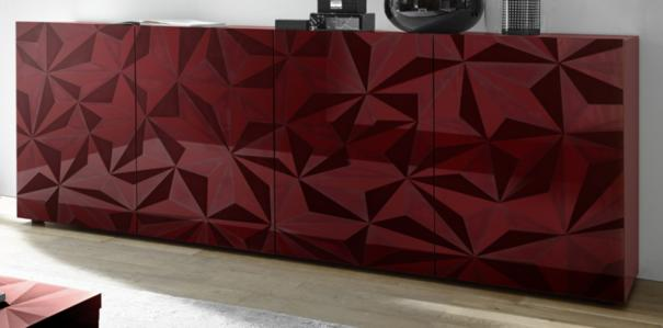 Brescia Four Door Long Sideboard - Gloss Red Finish with Grey Stencil
