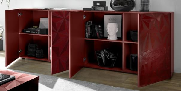 Brescia Four Door Long Sideboard - Gloss Red Finish with Grey Stencil image 2