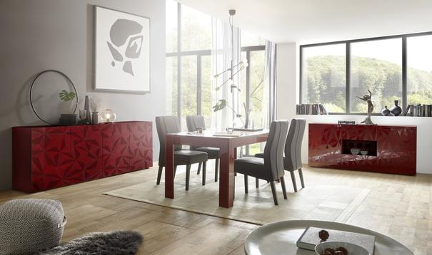 Brescia Four Door Long Sideboard - Gloss Red Finish with Grey Stencil image 3