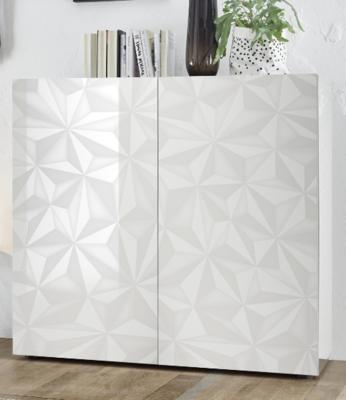 Brescia High Sideboard - Gloss White Finish with Grey Stencil Print