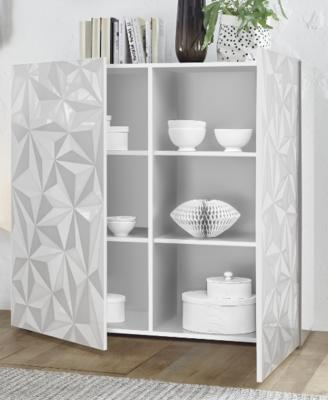 Brescia High Sideboard - Gloss White Finish with Grey Stencil Print image 2