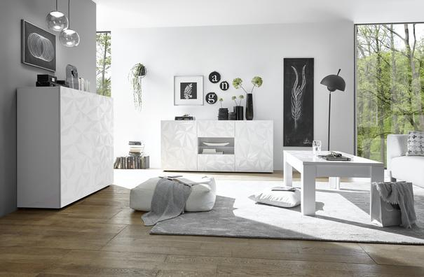 Brescia High Sideboard - Gloss White Finish with Grey Stencil Print image 3