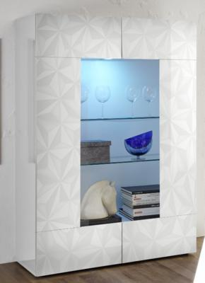 Brescia Display Vitrine with LED Spot - Gloss White with Grey Stencil
