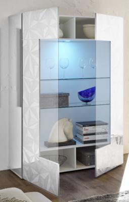 Brescia Display Vitrine with LED Spot - Gloss White with Grey Stencil image 2