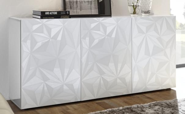 Brescia Three Door Sideboard - Gloss White with Grey Stencil Print