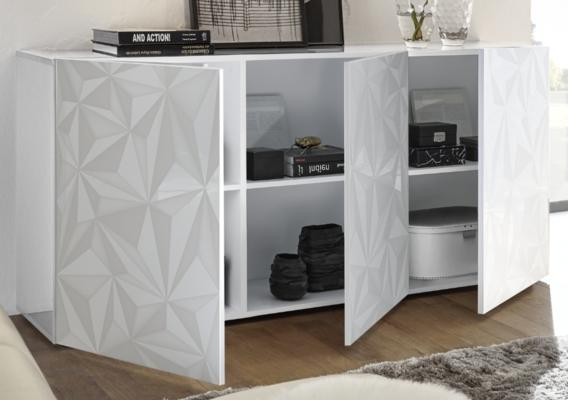 Brescia Three Door Sideboard - Gloss White with Grey Stencil Print image 2