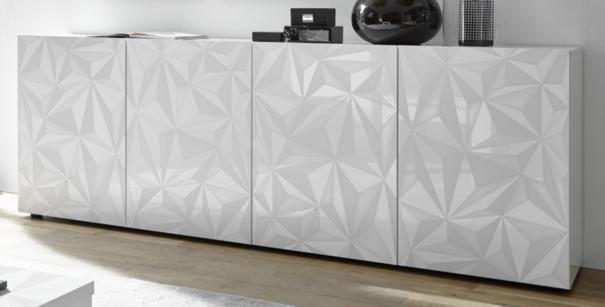 Brescia Four Door Long Sideboard - Gloss White with Grey Stencil Print