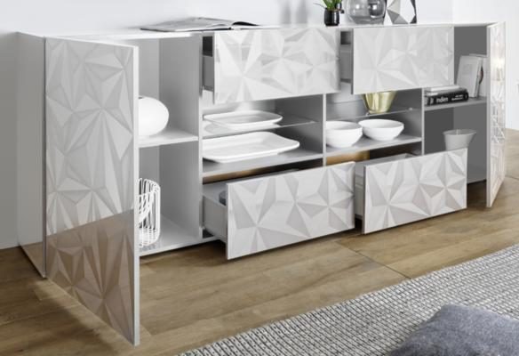 Brescia Two Door/Four Drawer Sideboard - Gloss White with Grey Stencil image 2