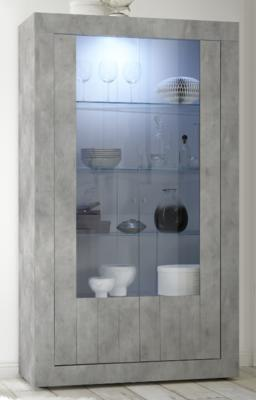 Como Two Door Display Vitrine Inc. LED Spotlight - Grey Finish