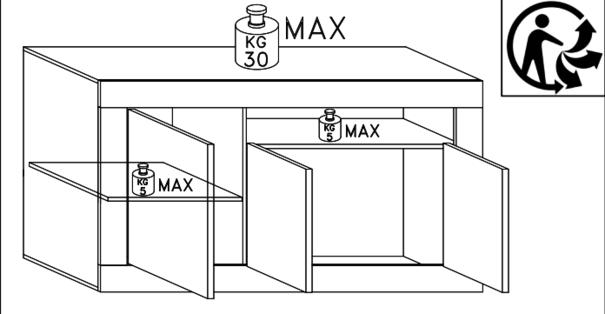 Como Three Door Sideboard - Grey Finish image 4