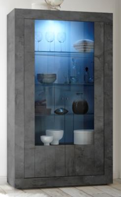 Como Two Door Display Vitrine Inc. LED Spotlight  - Anthracite Finish