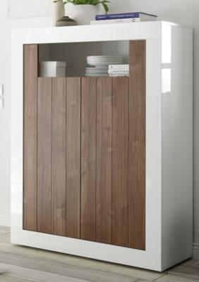 Como Two Door Highboard - Gloss White and Walnut Finish image 2