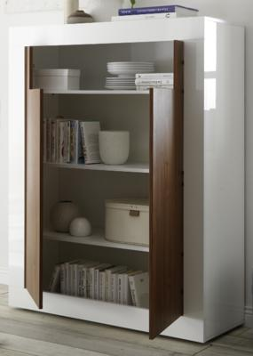 Como Two Door Highboard - Gloss White and Walnut Finish image 3