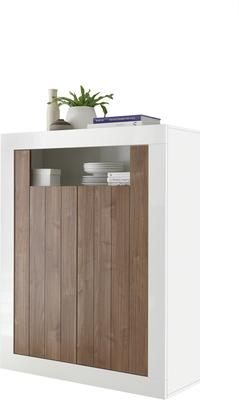 Como Two Door Highboard - Gloss White and Walnut Finish