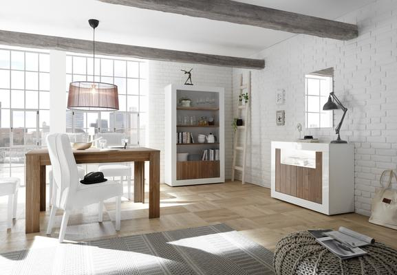 Como Two Door Sideboard Inc. LED Spotlight - White Gloss and Walnut Finish image 3