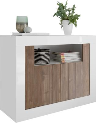 Como Two Door Sideboard - White Gloss and Walnut Finish