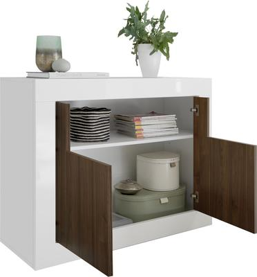 Como Two Door Sideboard - White Gloss and Walnut Finish image 5