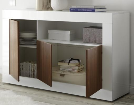 Como Three Door Sideboard - White Gloss and Walnut Finish image 2