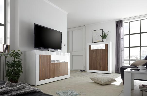 Como Three Door Sideboard - White Gloss and Walnut Finish image 3