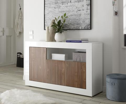 Como Three Door Sideboard - White Gloss and Walnut Finish