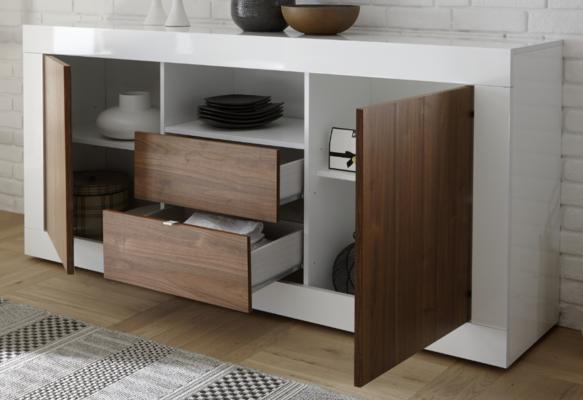 Como Two Door/Two Drawer Sideboard - White Gloss and Walnut Finish image 2